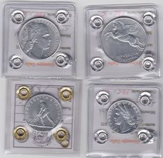 Republic of Italy – Complete 1949 series of four denominations (1, 2, 5, 10) Lira.