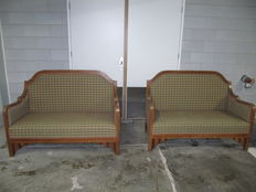 A set of 2 similar sofas in different types of wood - Damascus - Syria - around 1930