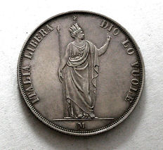 Provisional Government of Lombardy - 5 Lira, 1848 - Silver