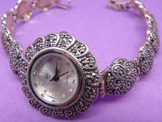 NS- Silver Woman's Marcasite  Wriswatch