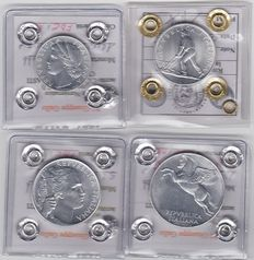 Republic of Italy – Complete 1950 series of four denominations of 1/2/5/10 Lira