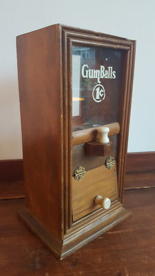 Antique wooden gumball / peanut machine