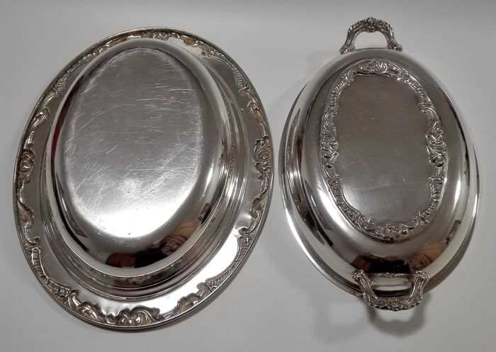 Silver plated serving tray with cover and handles, a double usage