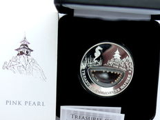 Fiji – 1 Dollar 2012 'Treasures of Mother Nature – Pink Pearl' – silver with pink pearls