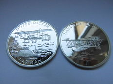 Germany, History of Aviation - Two Silver Medalsno Date Doppeldecker Farman Flugapparat and Navy Curtiss 4 Flugapparat