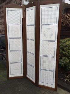 Room screen with 3 panels - solid oak wood - first half of 20th century