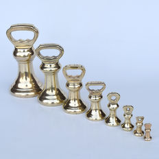 "Set of 8 brass ""Bell Weights"" - England - ca. 1900"