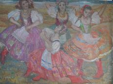 Constance Anne Parker. RA. (1921-2016) - A troupe of folk dancing girls.