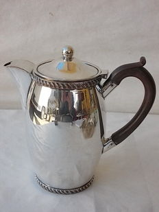 Ancient English water pitcher in silver plate with wooden handle, ca. 1840
