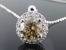 White gold, entourage pendant, set with champagne colour, cut diamonds, 1.25 ct in total.