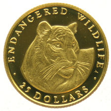 Cook Islands - 25 Dollars  1990, 1/25 oz. Tiger Head  goud