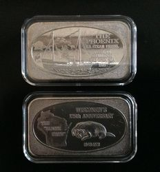 U.S.A - 2 Vintage zilverbaren, 2 x 1 oz 999, Wisconsin's 125th Anniversary & The Phoenix US Steam Vessel, UNITED STATES SILVER CORP. 1973