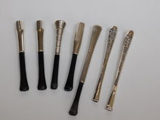 Collection of seven Silver Art Deco style cigarette holders, 1st half 20th century