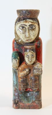 A romanesque style virgin and child, Spain - late 19th century