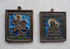 2 x Antique bronze icons - St. George fighting the dragon, Mother of God - Russia - 19th century.