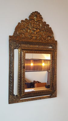 Yellow copper hall cabinet /brush cabinet with mirror.