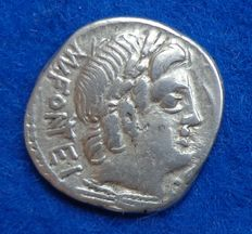 Roman Republic – M. Fonteius 85 B.C., minted in Rome, on the reverse a young Zeus on goat (Amalthea)