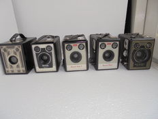 Lot of 5 box cameras Brownie, various types