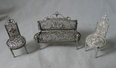 Miniature silver bench and two chairs