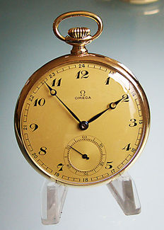 Omega men's pocket watch from around 1937 + matching chain (gold plated)