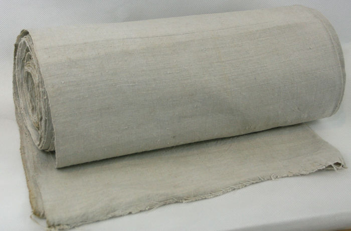 Beautiful old roll of pure linen, bolt of fabric ca 1900