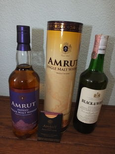 2 bottles - Amrut Single Malt Whisky 46% Taiwan Exclusive 750ml & Black & White Buchanan's - 1970s