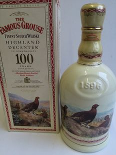The Famous Grouse Centenary Decanter 1896-1996 70cl 40% Old and Rare, Highland Decanter, Gilded With 24 carat gold