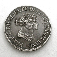 Principality of Lucca and Piombino5 Francs 1805, silver.