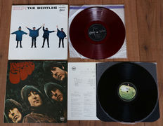 The Beatles- Rare lot of 2 early Japanese pressings: Help! (1st Odeon issue on red wax!)/ Rubber Soul (The Beatles Forever Series complete w. 4-page insert & black inner sleeve)