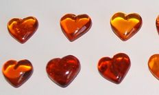 A collection of fine Baltic Amber hearts - 10 x 4 mm - 8.15 g (22)