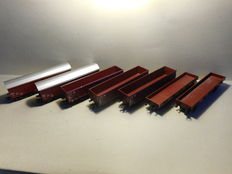 Marklin H0 - 7 pieces of freight wagons with double axles of the DB