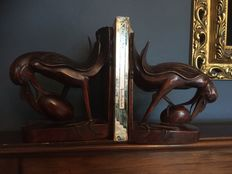 2 wooden carved bookends - Bali - Indonesia