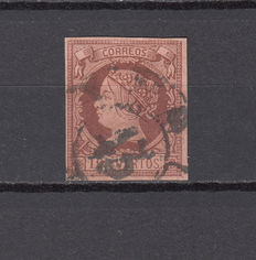 Spain, 1861. Isabel II. 19 cuartos salmon-coloured stamp. Edifil no. 54. Comex certificate.