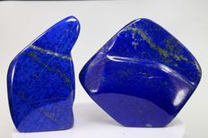 Hand-polished Royal Blue Lapis Lazuli tumbles - 86 to 94mm - 466gm  (2)