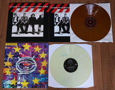 U2- lot of 2 limited edition lp's: How To Dismantle An Atomic Bomb (yellow marbled wax w. 16 page booklet & printed inner sleeve!) & Zooropa (cream marbled wax)