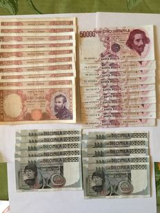 Italy - Republic - lot of 30 banknotes