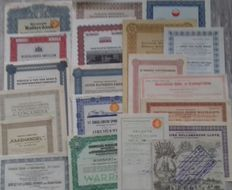 Netherlands-lot of 20 different securities-including Amstel-Dutch Central railways-East Sumatra