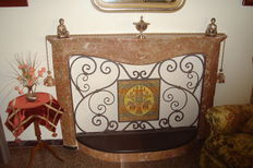 Pink marble fireplace - Louis XV style - ca. 1800
