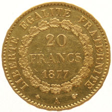 France – 20 francs 1877A – Standing Genius, gold.