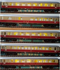 Märklin H0 - 4055/4056/4057/4059/4088 - 5x carriages Trans Europa Express , all with stabilised Led interior lights and Led closing  lights (19)
