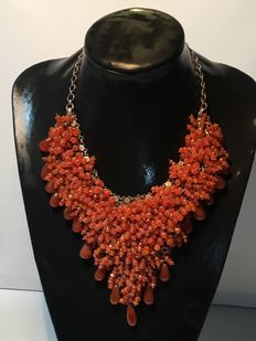 Necklace with carnelian and sterling 925 silver