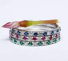 14k White Gold set of 3 diamond, ruby, blue sapphire and emerald band rings.        Ring size – 17 NL and 55  French