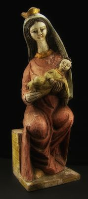 """Antique polychrome wood sculpture """"Virgin and Child enthroned"""" - between 15th and 16th C"""