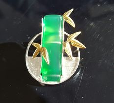 925 sterling silver Chrysoprase Bamboo brooche