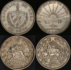 Cuba and Iran; 1 peso, 1933 and 1953; 2,000 dinar, 1327; 5,000 dinar, 1320; silver