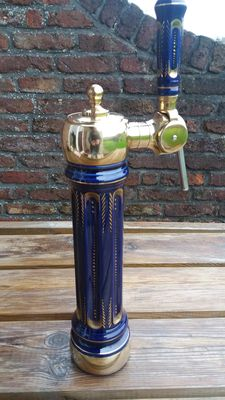 Antique beer pump, French porcelain and copper, in perfect condition