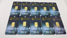 10 x 0.10g PIM Gold Bar
