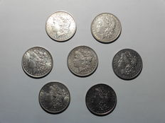 United States – Morgan Dollar 1883/1892 (7 pieces) – Silver