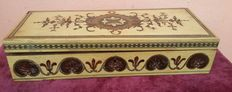 Old Maple box inlaid with precious woods and micro mosaic-Italy- early 20 century.