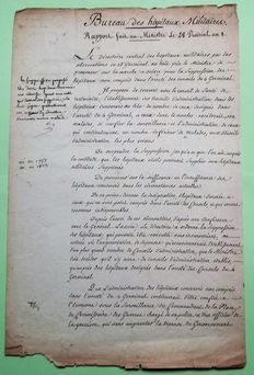 Directoire letter on the reorganization of the military hospitals, note of the General CARNOT, and minister of first Consul BONAPARTE